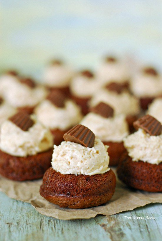 Peanut Butter Cup Doughnuts with frosting on top