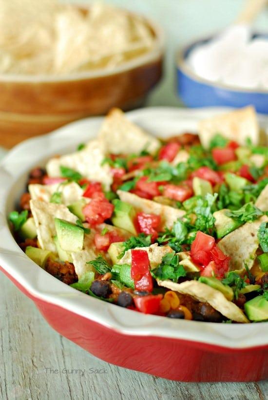 Taco Salad in casserole dish