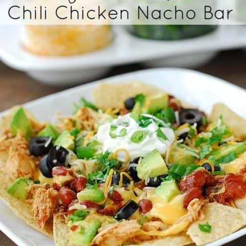 Slow Cooker Chicken Chili Nacho Bar