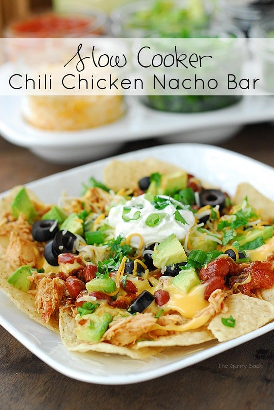 Slow Cooker Chili Chicken Nacho Bar
