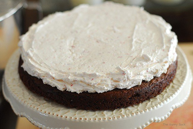 Peppermint Frosting spread on cake