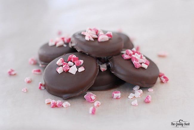 stack of homemade peppermint patties