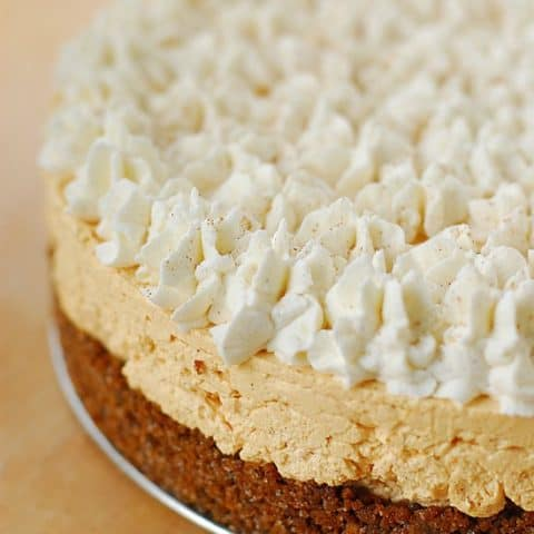 Pumpkin Silk Cheesecake Pie on tray