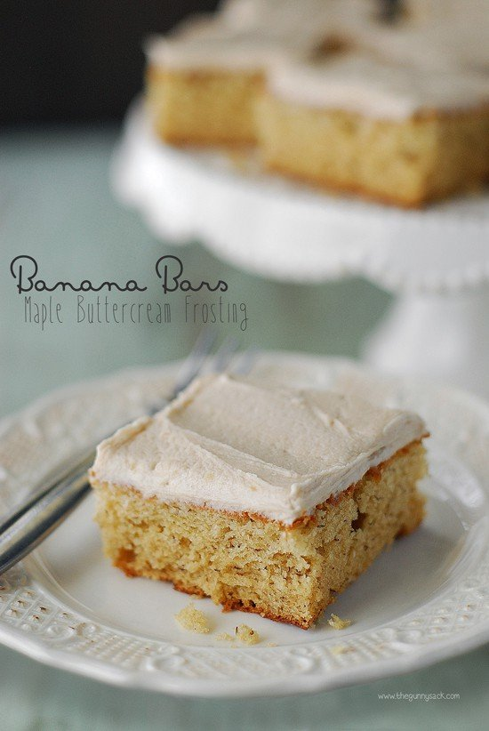 Banana Bars with Maple Buttercream Frosting