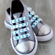 Chevron Glitter Shoe Laces & A Mod Podge Rocks Stencil Giveaway