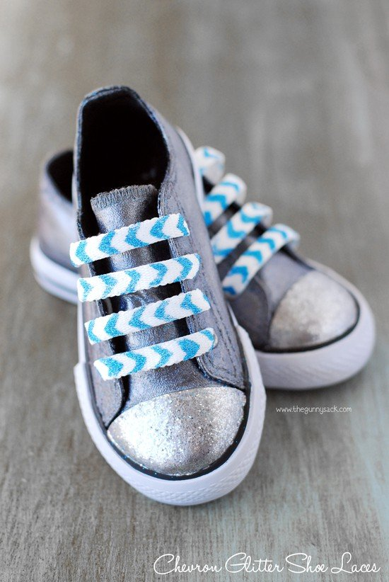 DIY Chevron Glitter Shoe Laces
