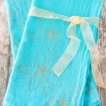 Gold Flower Stamped Dish Towels