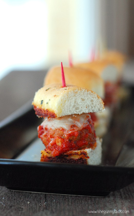 Meatball Sliders with toothpick