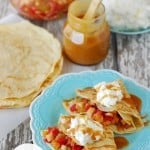 Fruit Salsa Crepes on a blue plate
