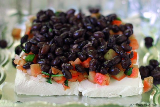 Salsa and Beans On Cream Cheese