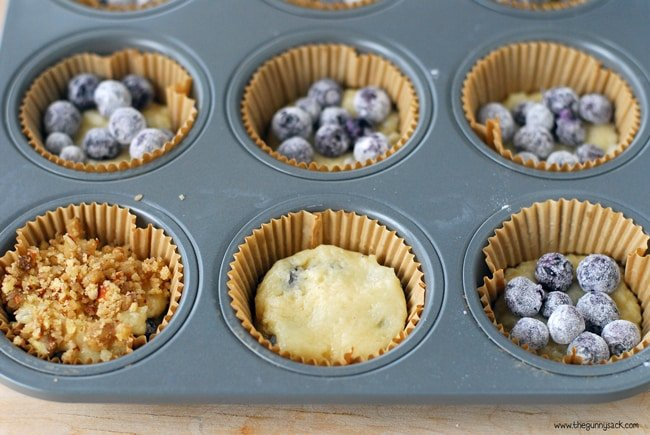 Blueberry Muffin batter in pan