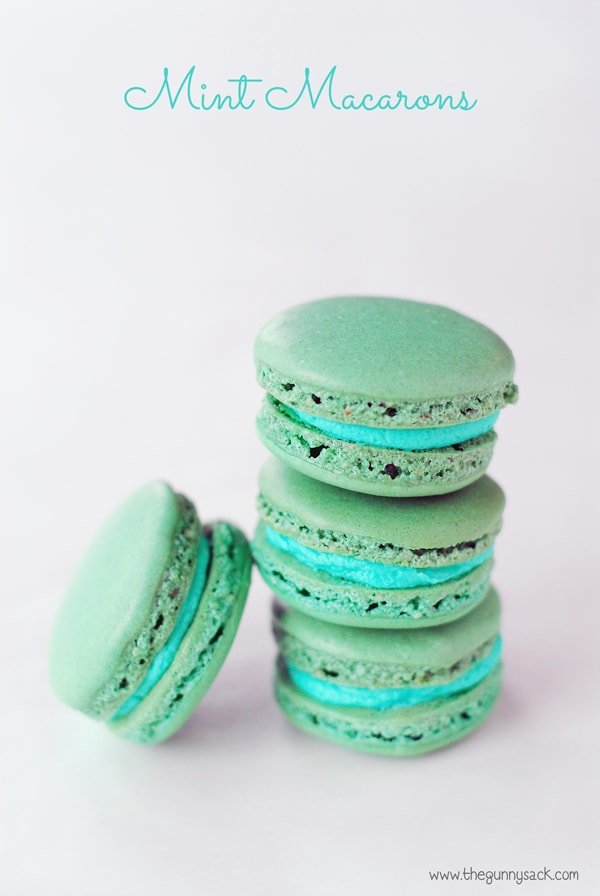 These Mint Macarons are light, crisp French macarons with mint ...: thegunnysack.com/2014/05/mint-macarons.html