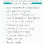 Bedtime Checklist Printable