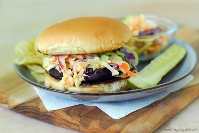 Slaw Burger on plate