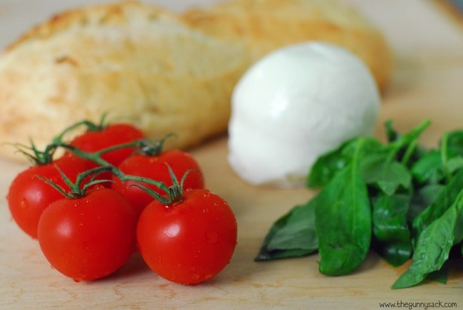 fresh tomatoes basil and mozzarella for grilled margherita sandwiches