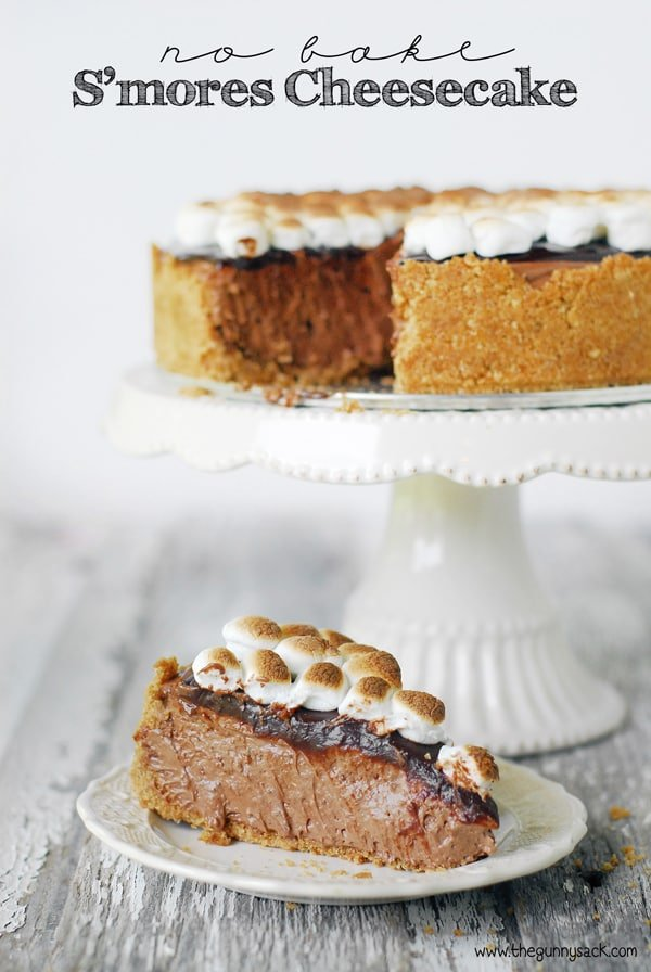 No Bake S'mores Cheesecake Recipe | thegunnysack.com