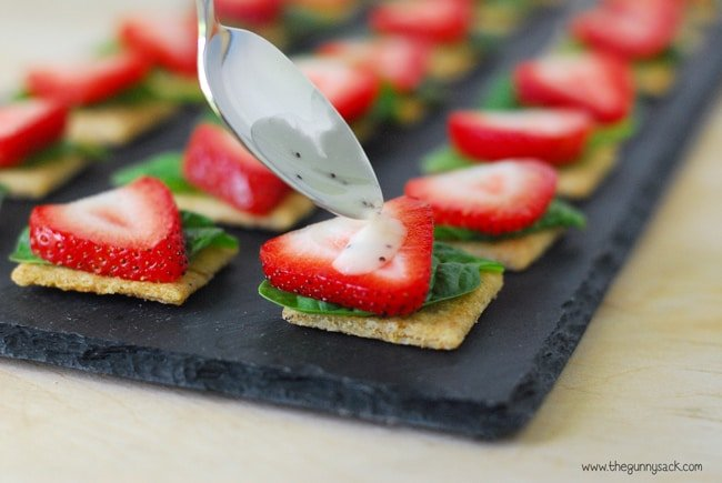 Pour Dressing On Strawberries