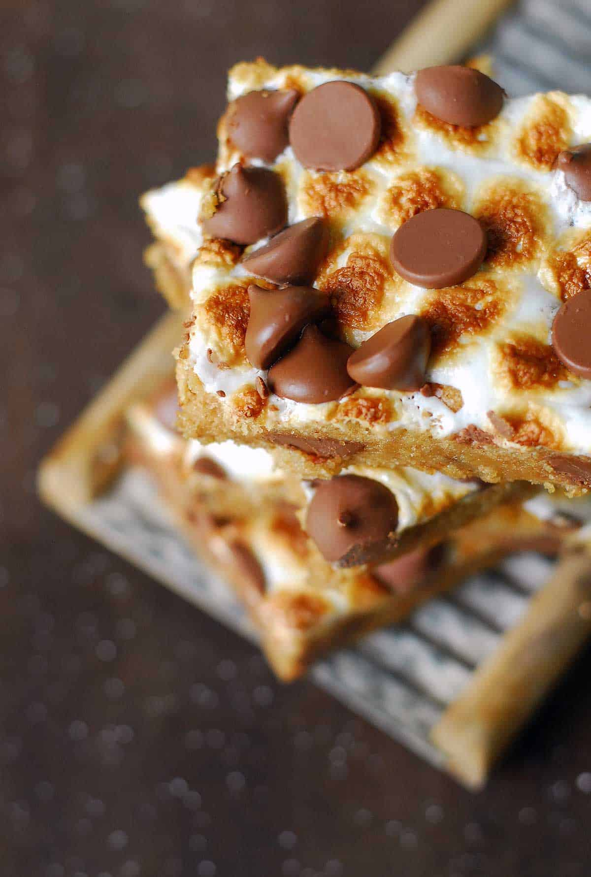 s'mores bars stack from top
