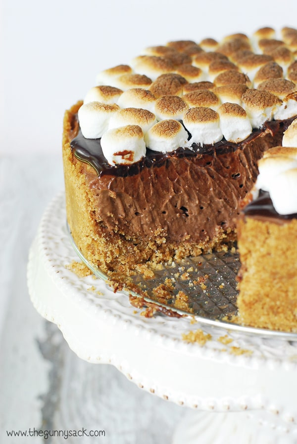 S'mores Cheesecake with a slice taken out