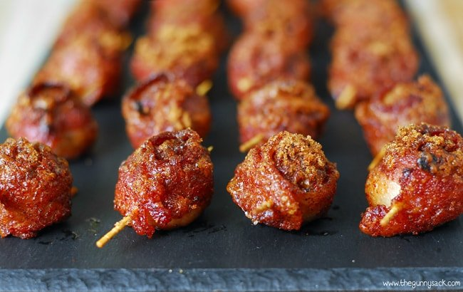 Sweet And Spicy Bacon Wrapped Meatballs In A Row