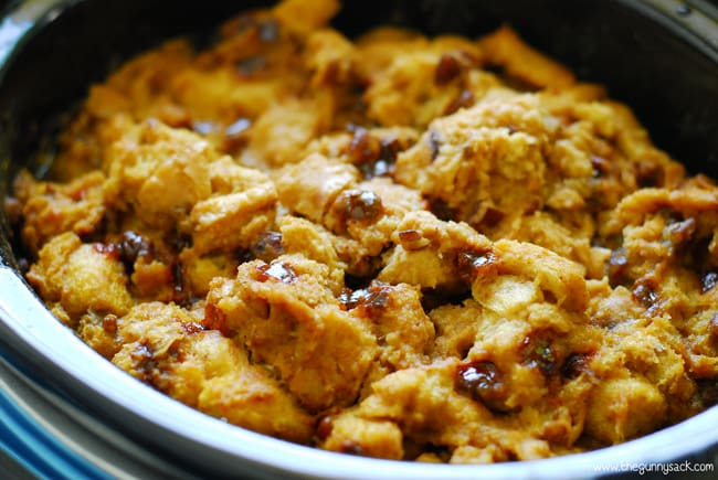 fully cooked crockpot pumpkin pecan bread pudding