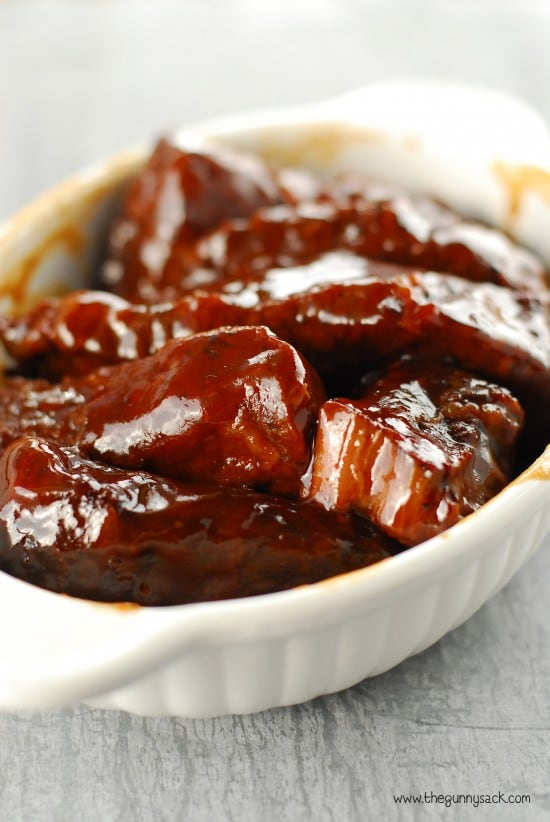 Slow Cooker Barbecue Ribs in white bowl