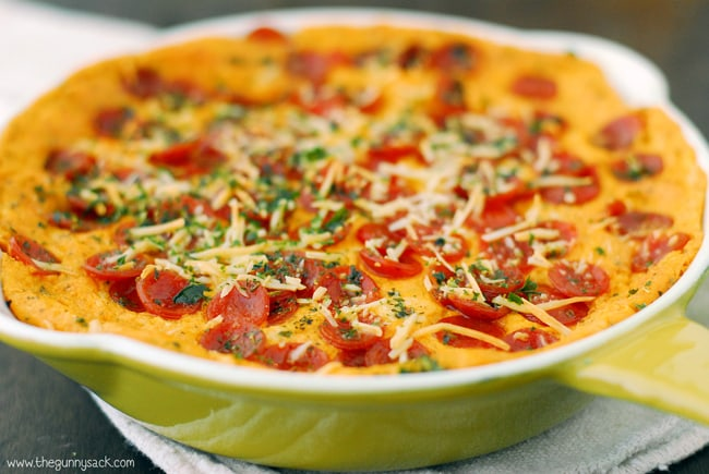 Pepperoni Pizza Dip in casserole dish