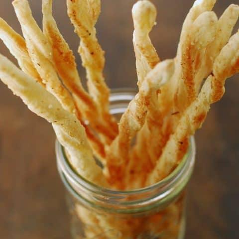 Puff Pastry Breadsticks in jar