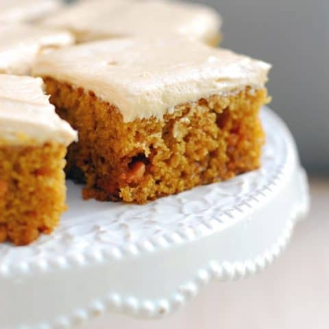 Pumpkin Butterscotch Bars on cake stand