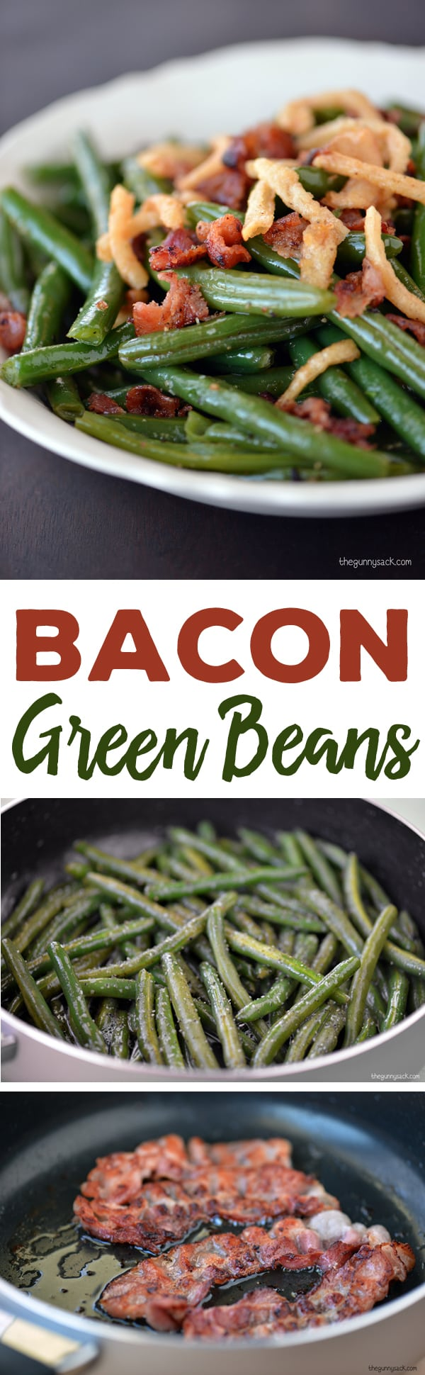 Bacon Green Beans Recipe: Green beans are always part of a traditional holiday dinner, but when bacon and French fried onions are added, the green beans become a showcase dish. #bacon #sidedish