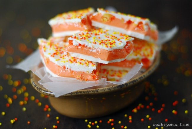 Candy Corn Truffle Bark in bowl