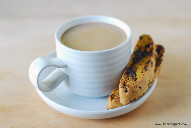 pumpkin chocolate chip biscotti and a cup of coffee