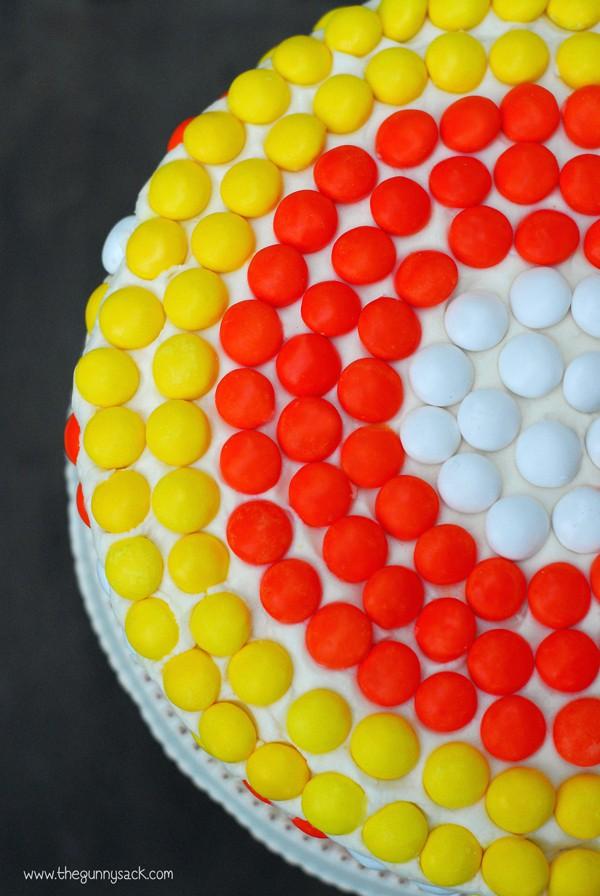 halloween m&ms on cake