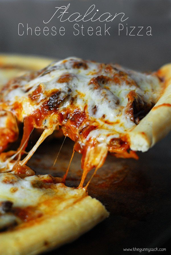 Italian cheese steak pizza