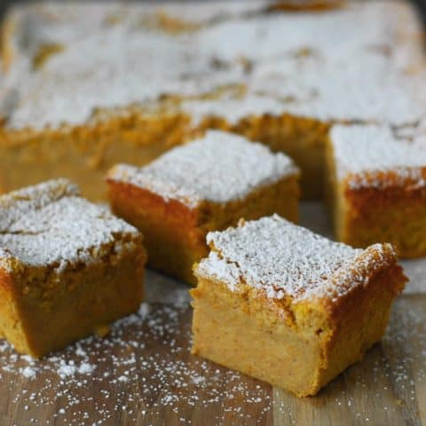Magic Custard Pumpkin Cake cut into pieces