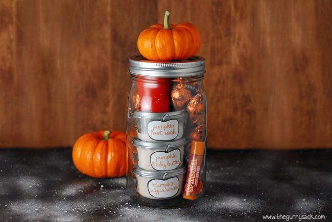 Pumpkin pampering gift in a jar