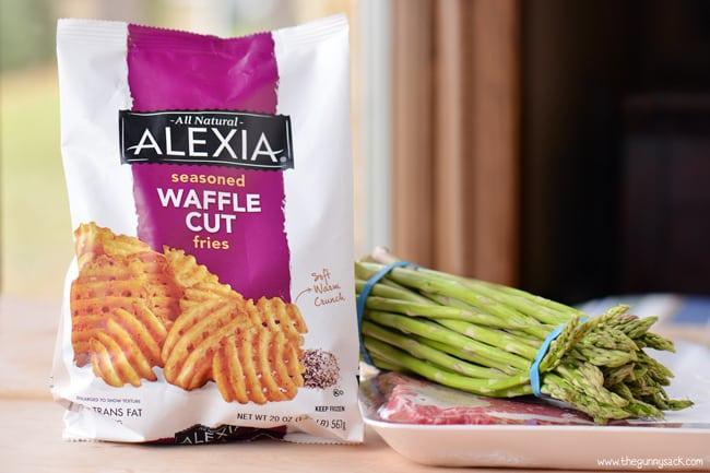 waffle cut fries, asparagus and steak