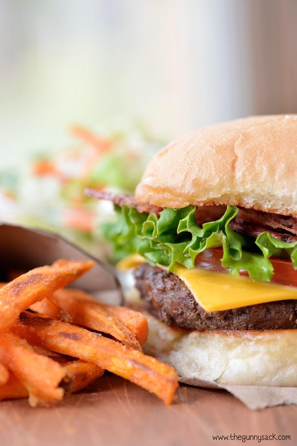 bacon cheeseburger and sweet potato fries