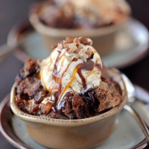 Chocolate Turtle Bread Pudding with vanilla ice cream