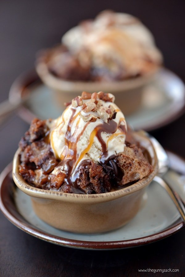 Chocolate Turtle Bread Pudding In Bowl