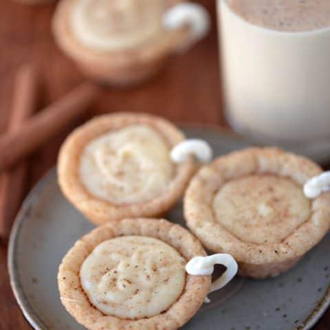 Eggnog cookie cups top view