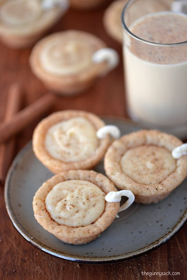 ... eggnog cookie cups with a glass of cold eggnog … of course