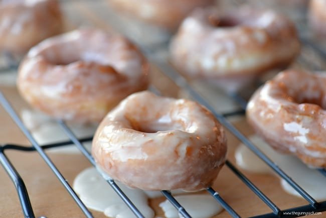 glazed donuts on rack