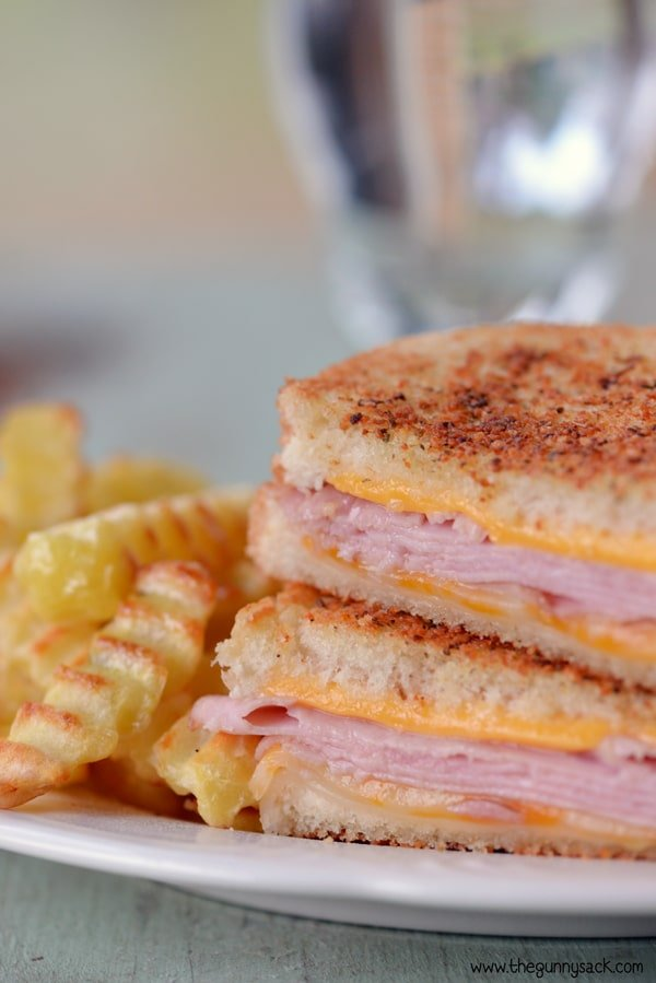 grilled ham and cheese with fries on plate