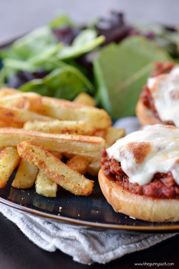 italian sloppy joes with fries on plate