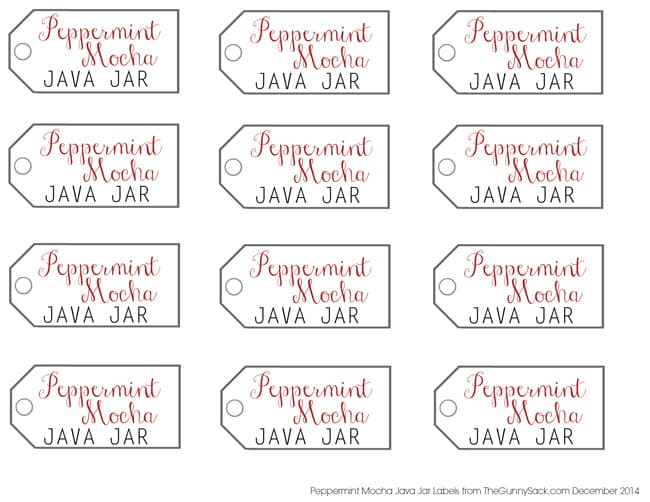 Peppermint Mocha Java Jar Labels
