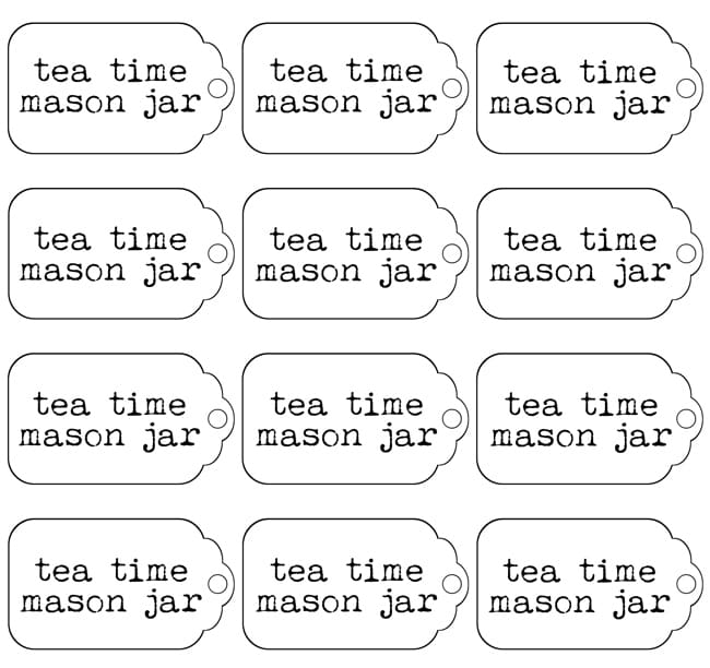 Tea Time Mason Jar Labels