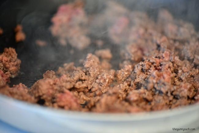 Fry ground beef #CampbellsSauces