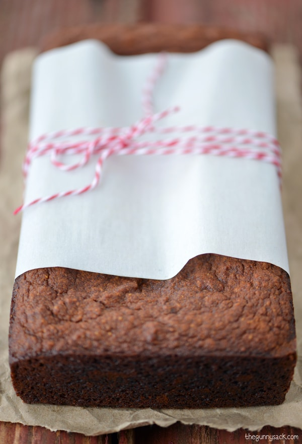 Pumpkin gingerbread wrapped with parchment