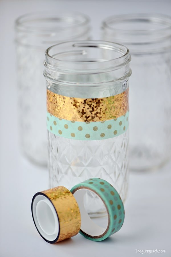 Washi Tape Mason Jars